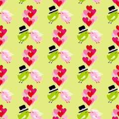Seamless Pattern Birds Wedding Flying 9 Heart Balloons Green