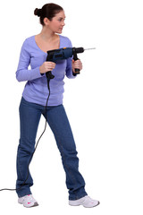 woman handling drill