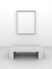 Gallery Interior with empty frame on wall and bench