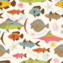 motley fishes seamless pattern