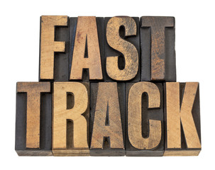 fast track words in wood type