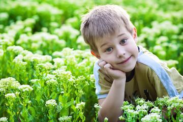 happy boy lying in the green grass