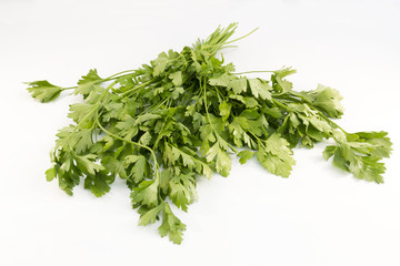 Bouquet of parsley on white background