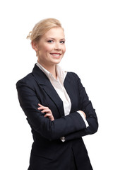 Smiling business woman in a black suit on white background