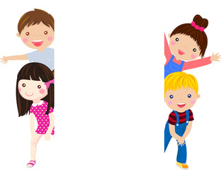 Cute cartoon kids frame