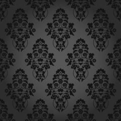 Seamless Pattern Flowers Dark