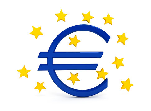 Euro sign over white background