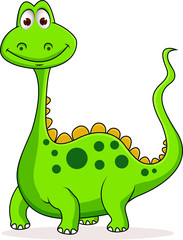 Poster de jardin Dinosaurs Cute green dinosaur cartoon