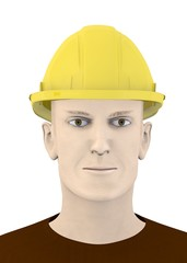3d render of artifical male with hard work cap