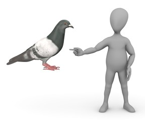 3d render of cartoon character with pigeon