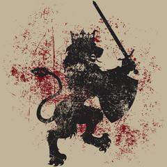 Vector Grunge Lion King Heraldry