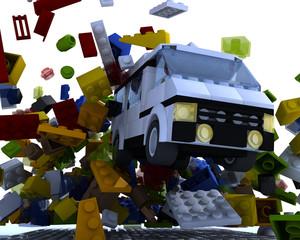 Van hit blocks