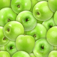 Seamless pattern of heap fresh green apple