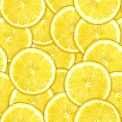 Seamless pattern of yellow lemon slices