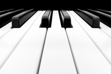 Close-up of Piano Keyboard with plenty of white space
