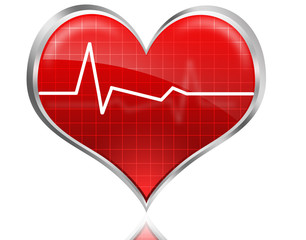 Shiny and glossy heart with heart beat signal