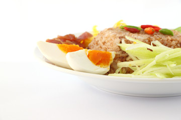Part of steam rice mix shrimp paste with sweet pork and egg.