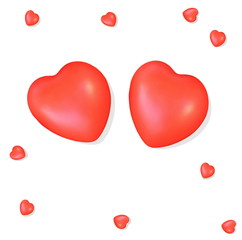 Two red hearts  isolated on the white background