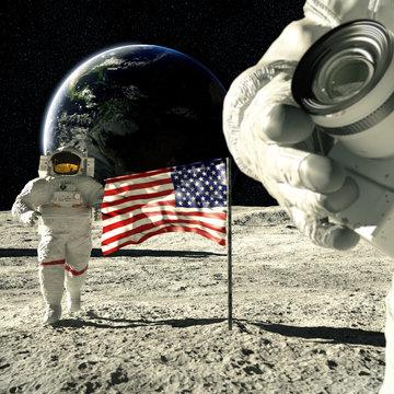 working astronauts on moon 3d rendering