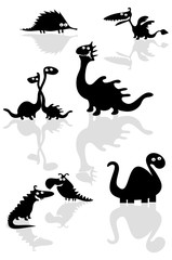 Collection of funny cartoon dinosaurs