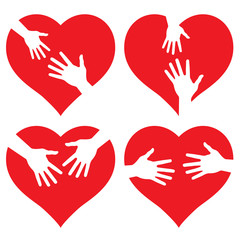 set of Hands on heart, abstract vector icons