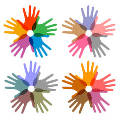 set of colorful hand print icons, vector