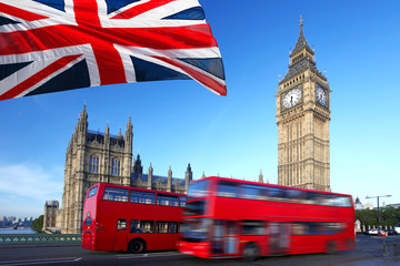 Foto op Canvas Londen Big Ben with city bus and flag of England, London