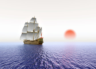 Sailing Ship with red Sun