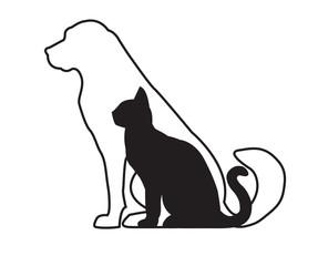 White dog and black cat isolated on white