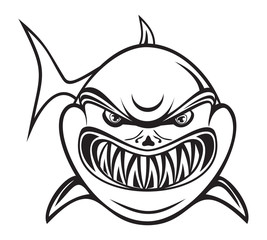 Angry shark black and white