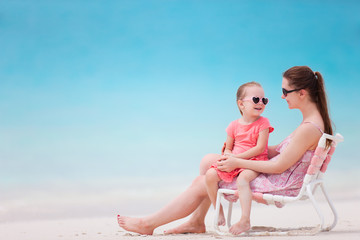 Mother and daughter at tropical beach
