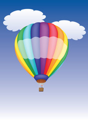 hot air balloon in a cloudy sky vector illustration