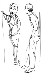 sketch a fellow and girl communicate upright in a corridor