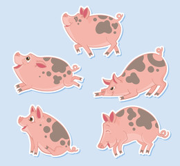 Five happy pigs prancing and playing
