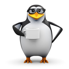 3d Penguin in glasses drinks coffee