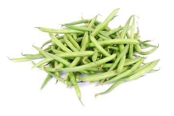 Fresh green beans on white