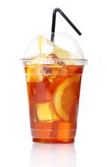 Fresh ice tea in plastic glass
