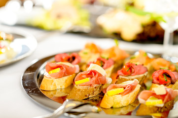 Catering canapes tray food details appetizers