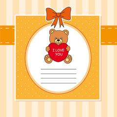 Tarjeta oso con un corazón