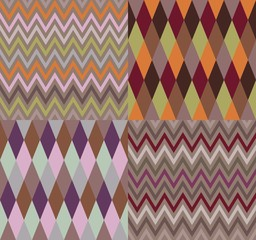 Set of argyle and chevron patterns