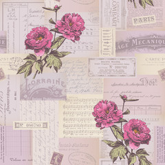 seamlessly tiling paper collage pattern with peonies