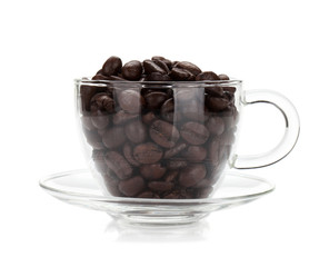 Coffee beans in glass cup