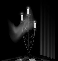 black chandelier and ghost