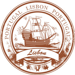 Stamp with sailboat and the name Lisbon, Portugal inside