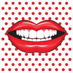 glossy female lips pop art