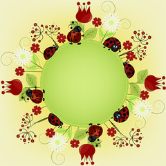 Fotobehang Lieveheersbeestjes Card sample with ladybugs and a flowers