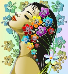 Recess Fitting Floral woman Donna Esotica Sensuale-Sensual Exotic Hibiscus Girl-Vector