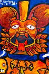 Aztec painting on the wall in Tenochtitlan Mexico City