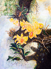 Flower on the tree of oil painting