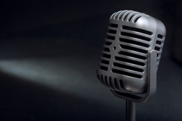 retro microphone with spotlight